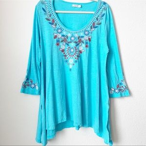 Caite Embroidered Long Sleeve Tunic Top Large
